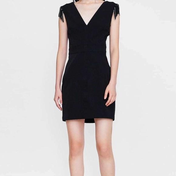 Zara Dresses & Skirts - Zara Dress Black Fringe Sleeveless Dress Sz M